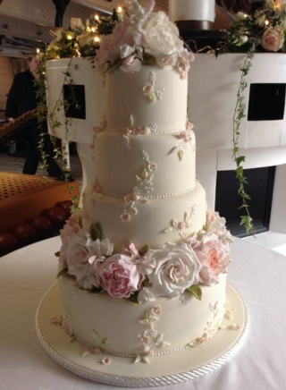 BESPOKE WEDDING CAKE WITH HANDCRAFTED SUGAR ROSES AND PEONIES
