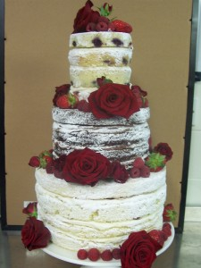 6x8 red rose naked cake